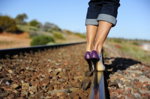 Sexy woman high heels outback Australia railway